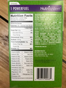 a box of nutrisystem turbo shakes with the ingredient list facing the camera