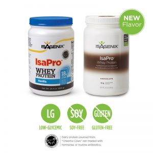 IsaPro whey protein in two big jugs