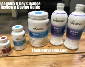 the full line of products for the isagenix 9 day cleanse displayed on my coffee table