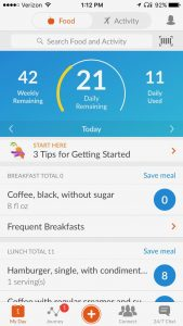the weight watchers app from my iPhone