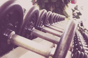 a row of weights ready for a workout