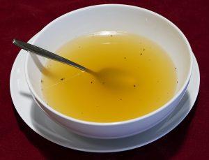 a bowl of chicken bone broth