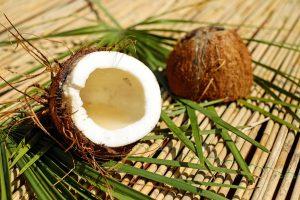 a coconut cut in half