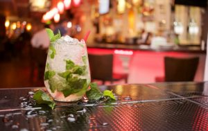 a mojito on the bar