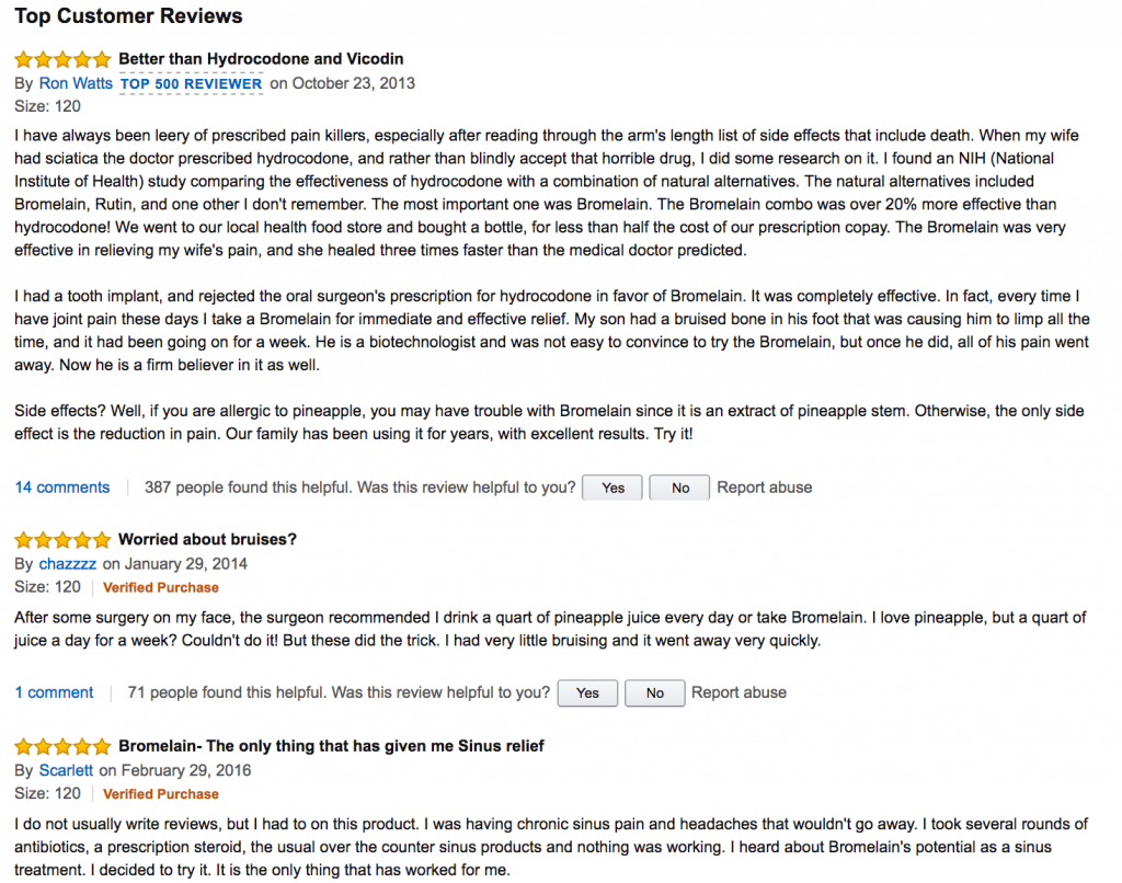 positive reviews about Bromelain from Amazon
