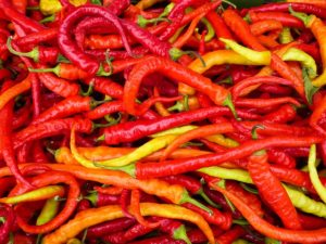 a pile of spicy chillis