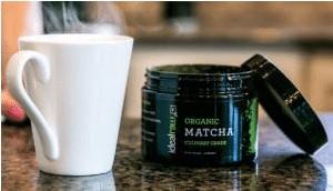 a jar of organic matcha tea