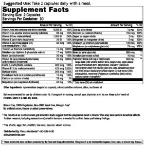 xfactor plus supplements facts label