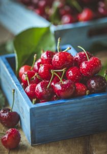 a cup of cherries