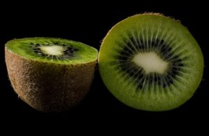 two kiwis cut in half