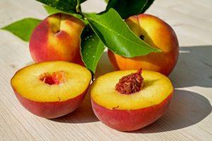 a peach cut in half