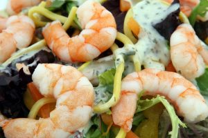 factory farmed shrimp used to make a salad