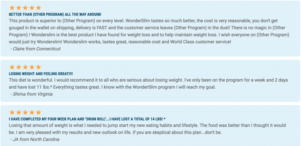 a screenshot of actual testimonials about the wonder slim program
