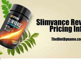 a bottle of slimvance laid on top of leaves for our review