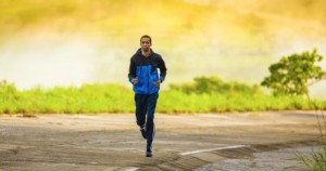 a man goes for a long run