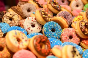 a pile of different doughnuts