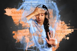 a woman who looks super stressed out from high cortisol