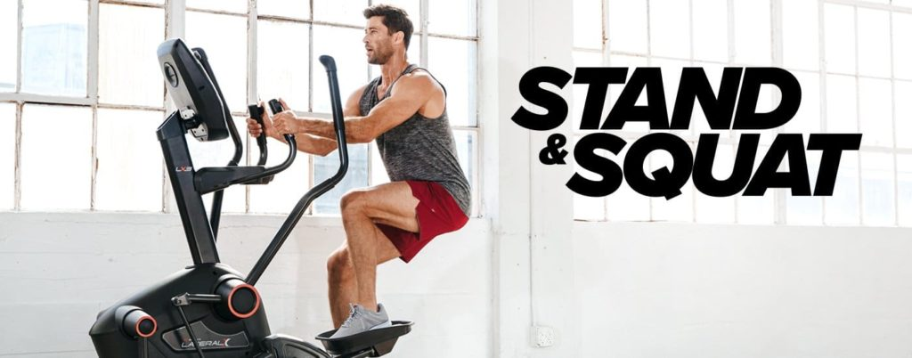 a guy uses the bowflex lateralx for the stand and squat moves