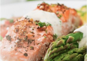 a Diet to Go dinner of salmon and asparagus