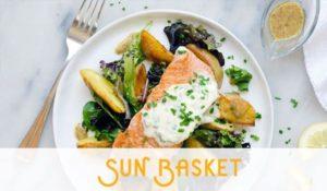 a sunbasket dinner of salmon and veggies