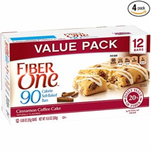 a box of fiber one bars in cinnamon coffee cake flavor