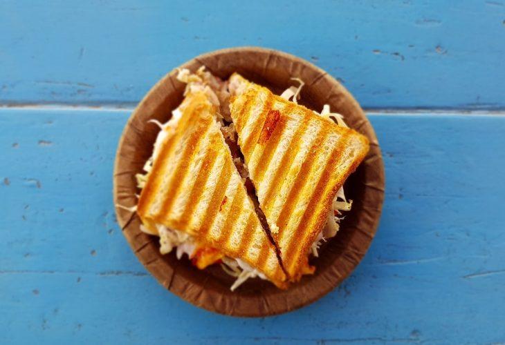a low calorie sandwich on a blue table