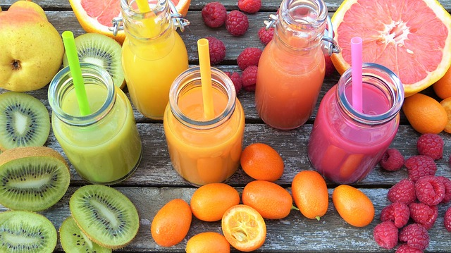 some smoothies made from fruit