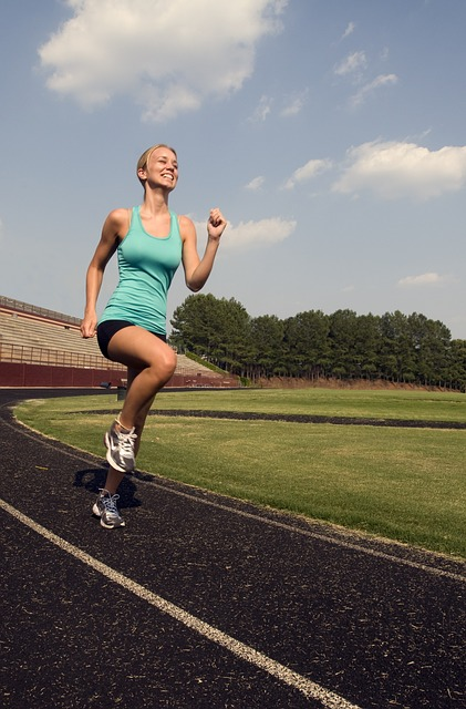 a fit woman goes running