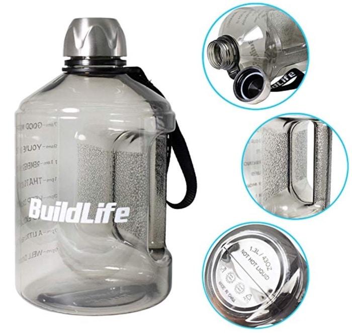 a side shot of buildlife water bottles